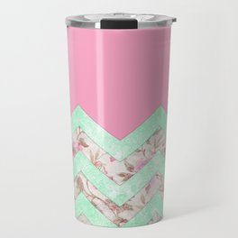 Girly Mint Green Pink Floral Block Chevron Pattern Travel Mug