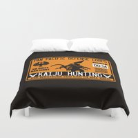 kaiju Duvet Covers featuring Kaiju hunting plate by Buby87