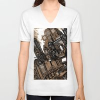 cityscape V-neck T-shirts featuring Cityscape by David Miley