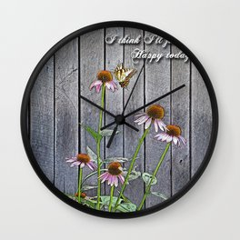Cone Flowers - Happy Wall Clock