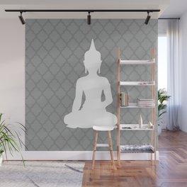 Grey and White Buddha Wall Mural