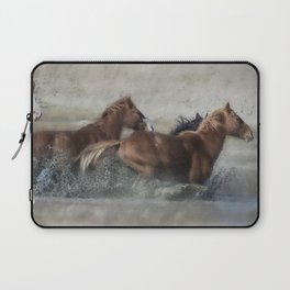 Mustangs Getting Out of a Muddy Waterhole the Fast Way painterly Laptop Sleeve
