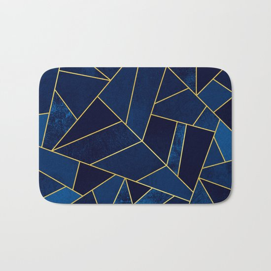 Blue stone with yellow lines Bath Mat
