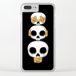 Cute Skulls No Evil II Clear iPhone Case