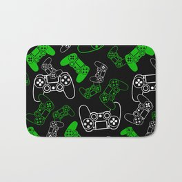 Video Games Green on Black Bath Mat