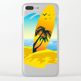 Vintage Surfboard Surfer Surfrider Bodyboard Clear iPhone Case