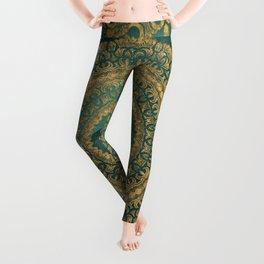 Emerald Green and Gold Mandala Leggings