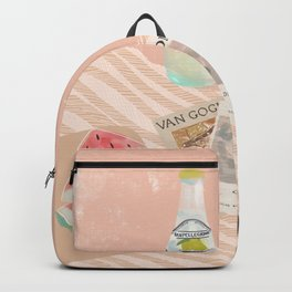 Beach essentials. Limonata, glossier, watermelon and Van Gogh Backpack