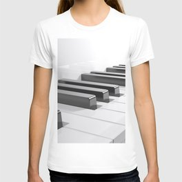 Keyboard of a white piano - 3D rendering T-shirt