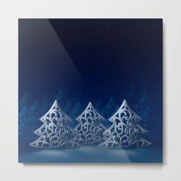 Three white Christmas trees Metal Print