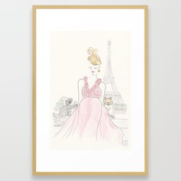 Eiffel Tower Paris with Red Dress, Pomeranian Pup and Cat Framed Art Print