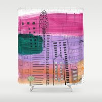 cityscape Shower Curtains featuring CityScape by Stinky Pie Art