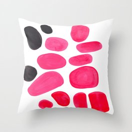 Abstract Minimalist Mid Century Modern Colorful Pop Art Pink Pastel Pebble Bubbles Throw Pillow