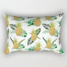 Summer tropical green yellow pineapple leaves watercolor floral Rectangular Pillow
