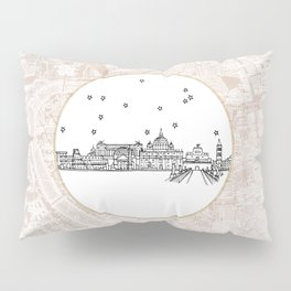 Roma (Rome), Italy, Europe City Skyline Illustration Drawing Pillow Sham
