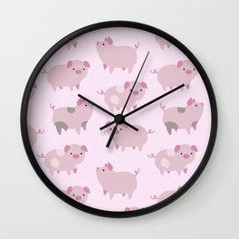 Cute Pink Piglets Pattern Wall Clock