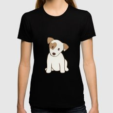 Heart spotted jack Russell Terrier Dog Black Womens Fitted Tee MEDIUM