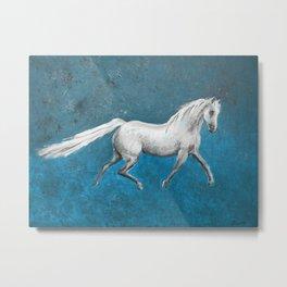 Galloping White Horse Metal Print