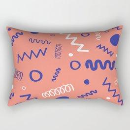 Memphis Peach Blue White Hand Drawn Pattern Rectangular Pillow