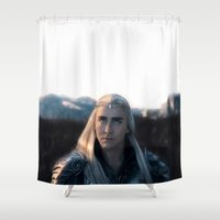 battlefield Shower Curtains featuring Thranduil - Battlefield by LindaMarieAnson