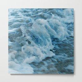 Turquoise Teal Ocean Waves With Foamy Surf  Metal Print
