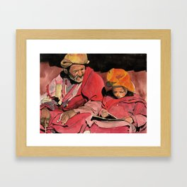 Lama and novice Framed Art Print