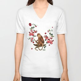Monkey World: Nosy - White Unisex V-Neck