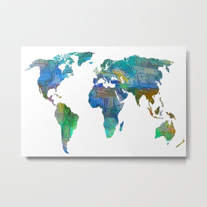 Blue World Transparent Map Metal Print