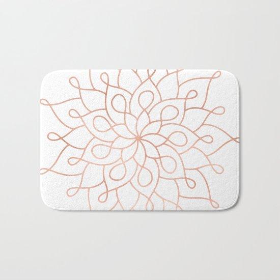 Mandala Rose Gold Pink Star Bath Mat