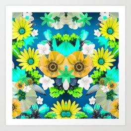 Flower mess - Blue Chaos Art Print