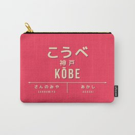 Retro Vintage Japan Train Station Sign - Kōbe Hyogo Red Carry-All Pouch