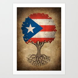 Vintage Tree of Life with Flag of Puerto Rico Art Print