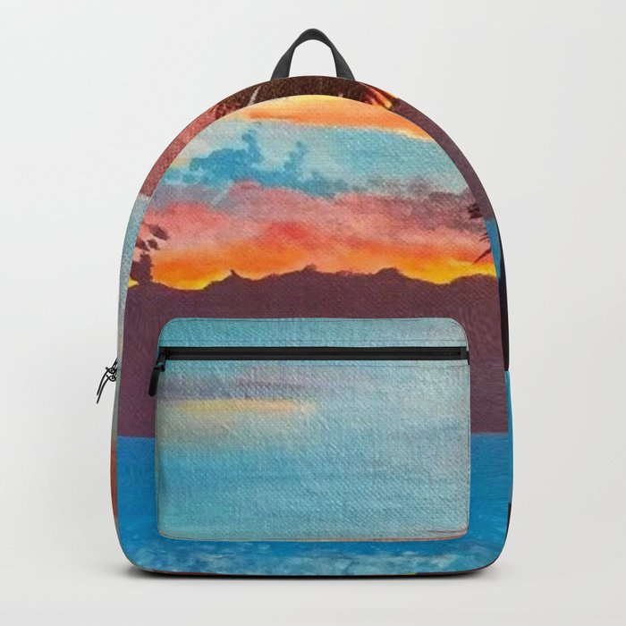 The Beautiful Key West Sun is captured in this ocean sunset painting Backpack