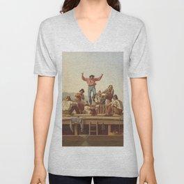 George Caleb Bingham The Jolly Flatboatmen 1846 Painting Unisex V-Neck