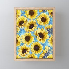Dreamy Sunflowers on Blue Framed Mini Art Print