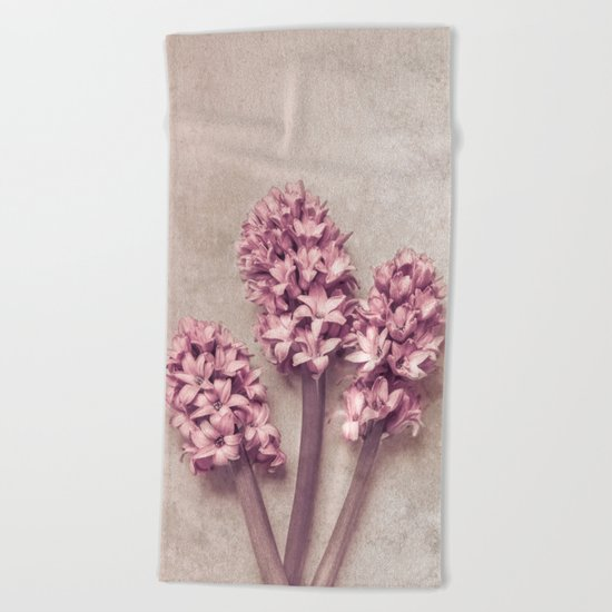 Lovely pink Hyacinths Beach Towel