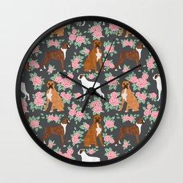 Boxer florals floral pattern dog portrait pet friendly dog breeds boxers Wall Clock
