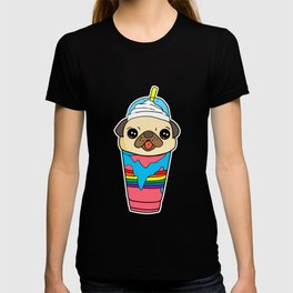 Cute & Funny Pug Puppy Dog In Smoothie T-shirt