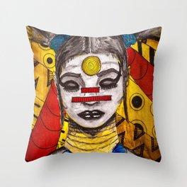 Meditating Warrior Throw Pillow