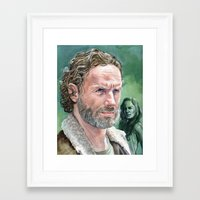 rick grimes Framed Art Prints featuring Rick Grimes by Mark Satchwill Art
