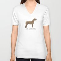 irish V-neck T-shirts featuring Irish Wolfhound by 52 Dogs