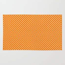 Tiny Paw Prints Pattern - Bright Orange & White Rug