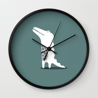 crocodile Wall Clocks featuring CROCODILE by Seokhyun Shim