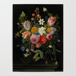 """Jan van Kessel de Oude """"Tulips, peonies, chicory, carnations, cherry blossom and other flowers"""" Poster"""