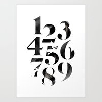numbers Art Prints featuring Numbers by Sibling & Co.