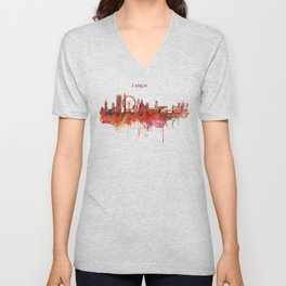 London Skyline watercolor Unisex V-Neck