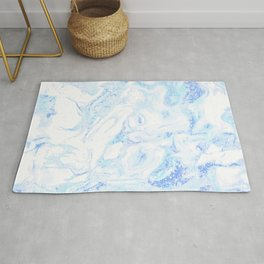 White Marble with Pastel Blue Purple Teal Glitter Rug