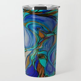 Wild Horses In Brown and Teal Travel Mug