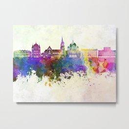 Lodz skyline in watercolor background Metal Print