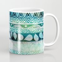 beach Mugs featuring Dreamy Tribal Part VIII by Pom Graphic Design